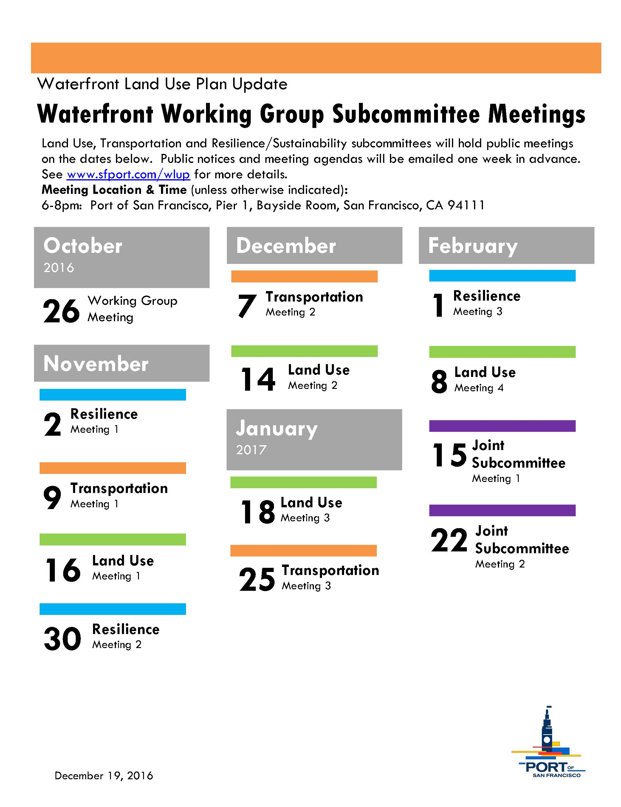 Waterfront Plan Update Part 2 Schedule