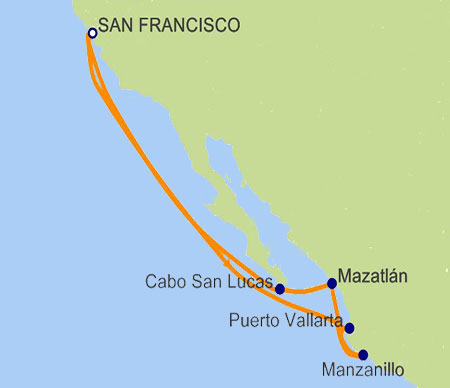 Grand Princess 10-day Roundtrip Mexico Itinerary Map