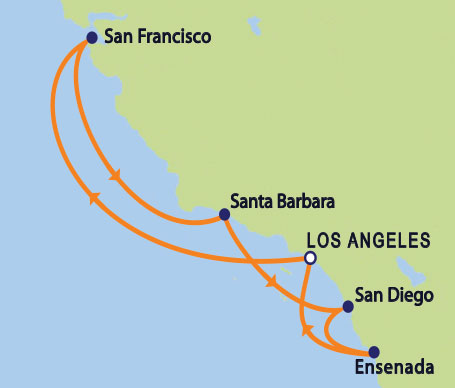 Map of Ruby Princess 8-day Coastal Cruise from Los Angeles
