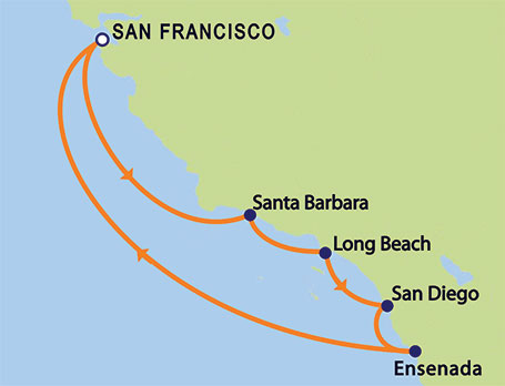 Grand Princess 8-day California Coastal Cruise Itinerary Map