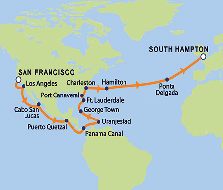 Queen Victoria 'Round-the-World Cruise: SF Return Leg Itinerary