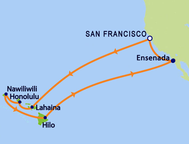 Grand Princess 15-day Roundtrip Hawaii Itinerary Map
