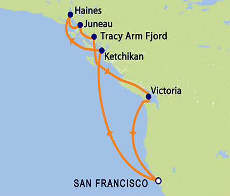 Grand Princess 10-day Roundtrip Alaska Itinerary Map