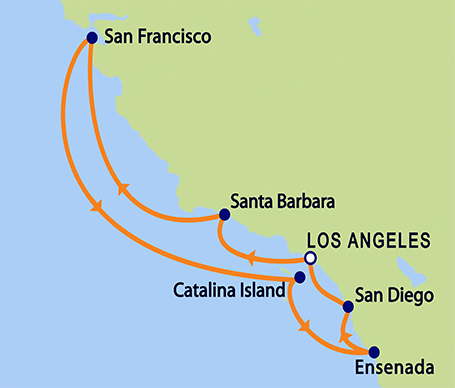 8-Day California Coastal Cruise from Los Angeles Itinerary Map