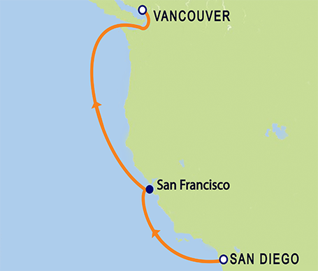 6-Day San Diego to Vancouver, B.C. Repositioning Cruise Itinerary Map