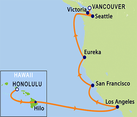 Hawaii to British Columbia Pacific Itinerary Map