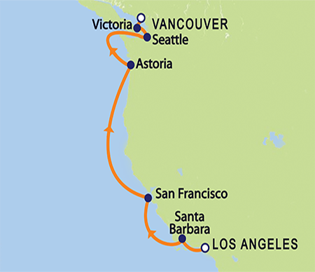 Crystal Serenity 11-Day Pacific Costal Repositioning Cruise from L.A. (map)