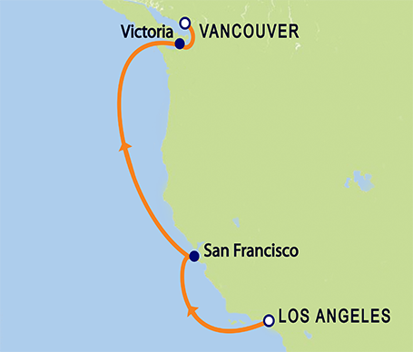 6-Day Los Angeles to Vancouver, B.C. Itinerary Map