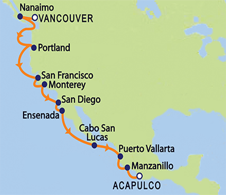 Europa repositioning cruise from Vancouver Canada to Acapulco Mexico (map)
