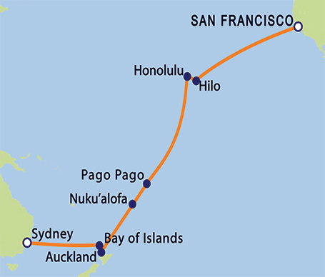 P&O Arcadia 'Round-the-World Cruise: 22-Day SF to Auckland Itinerary