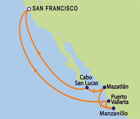 11-day Mexican Riveria Cruise Itinerary Map: Roundtrip from San Francisco