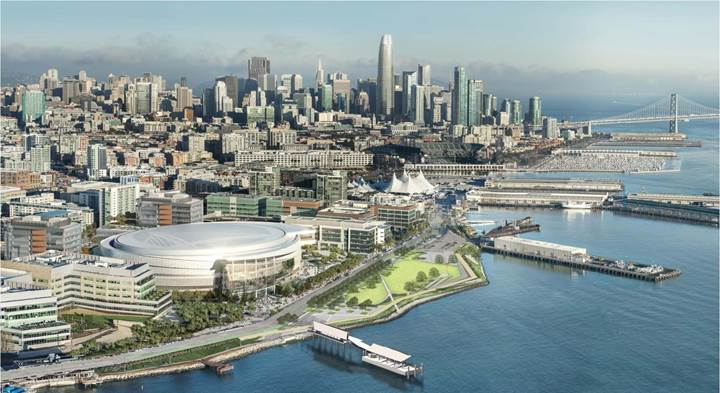 Rendering of new ferry landing in Mission Bay near Chase Center