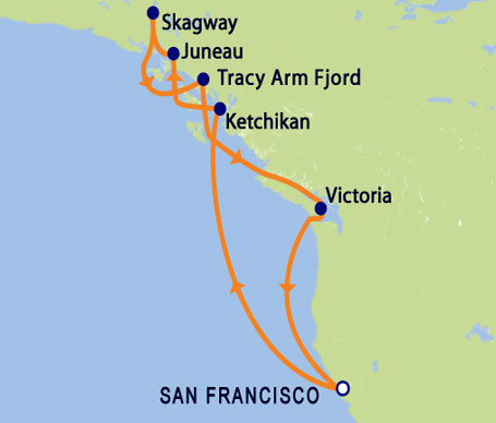 11 DAY Alaska Inside Passage Roundtrip from San Francisco Itinerary Map