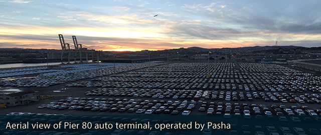 Aerial view of Pier 80 auto terminal, operated by Pasha