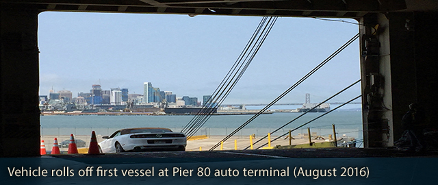 Vehicle rolls off first vessel at Pier 80 auto terminal (August 2016)