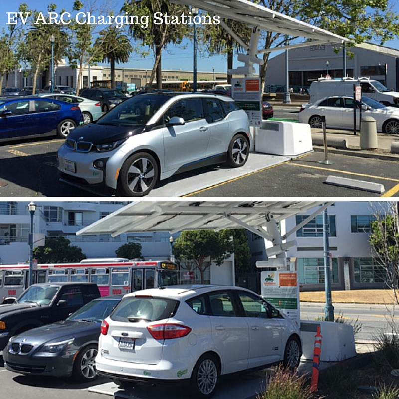 Cars charging at EV arc charging stations