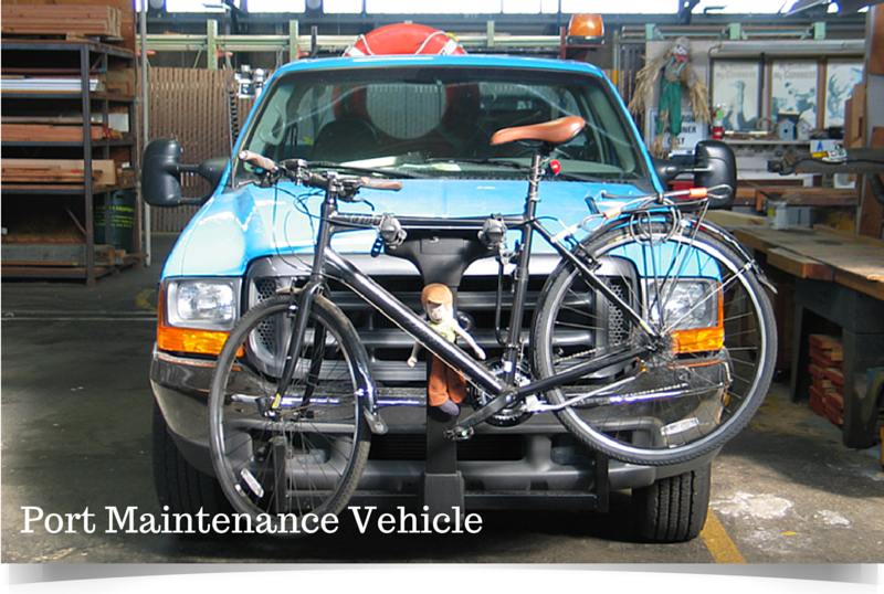 port maintenance truck with bike attached