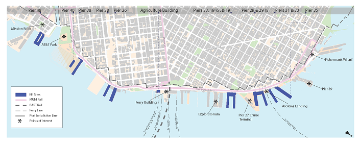 Map of Embarcadero Historic District Facilities included in the Request for Interest